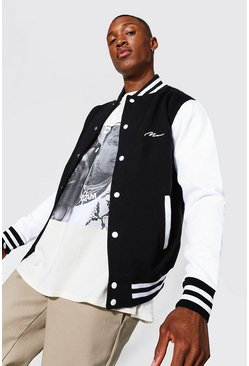 Man Signature Jersey Varsity Bomber Jacket, Black