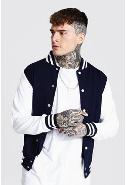 Navy Jersey Varsity Bomber Jacket With Sports Rib
