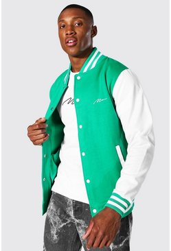 Man Signature Jersey Varsity Bomber Jacket, Green