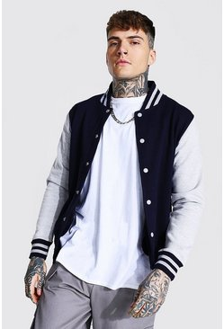 Jersey Varsity Bomber Jacket With Sports Rib, Navy