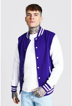 Purple Jersey Varsity Bomber Jacket With Sports Rib