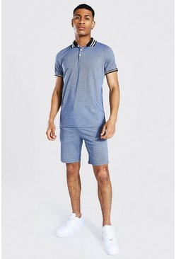 Blue Jacquard Polo And Short Set With Tape