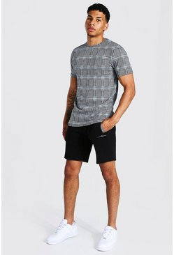 Blue Man Jacquard T-shirt & Pintuck Short Set