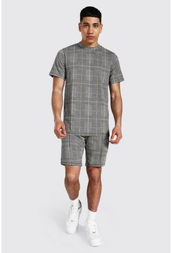 Mustard Jacquard Check T-shirt & Short Set