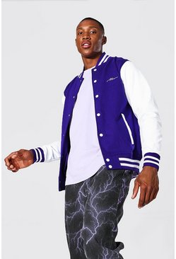 Man Signature Jersey Varsity Bomber Jacket, Purple