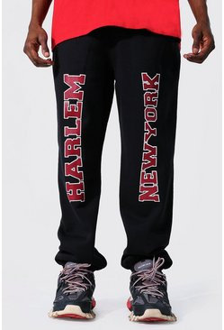 Regular Fit Varsity Ny Print Joggers, Black