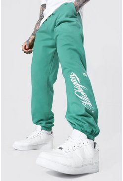 Regular Fit Varsity Michigan Print Joggers, Forest