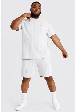 White Plus Size Man Jacquard Stripe Tee & Short Set