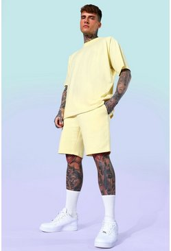 Yellow Oversized T-shirt And Short Set