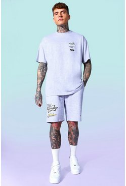 Grey marl Graphic T-shirt And Short Set