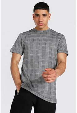Black Slim Fit Jacquard Check T-shirt