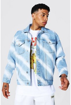 Ice blue Denim Jacket With Diagonal Bleaching