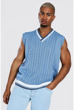 Varsity Basic Knitted Vest, Pale blue