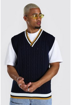 Varsity Basic Knitted Vest , Navy
