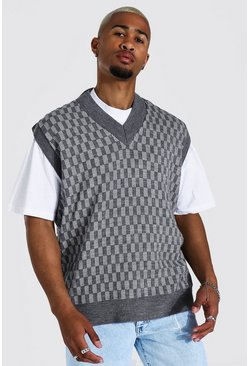 Knitted V Neck Oversized Checkerboard Vest, Charcoal