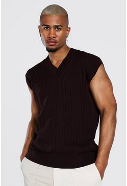 Chocolate Knitted V Neck Oversized Tank Top
