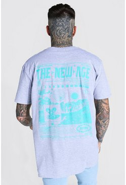 Oversized New Age Back Graphic T-shirt, Grey