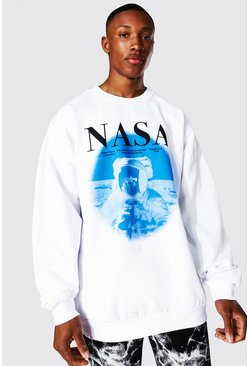 White Oversized Nasa Astronaut License Sweatshirt