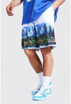 White Loose Fit Mesh Scenic Print Basketball Shorts