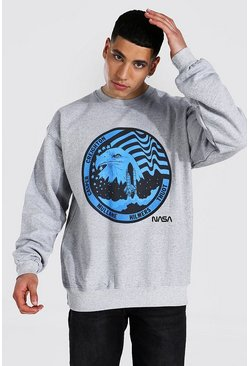 Grey marl Oversized Nasa License Sweatshirt
