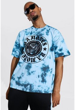 Sage Oversized Ramones Tie Dye License T-shirt