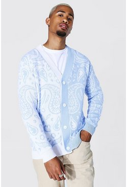 Spliced Bandana Knitted Cardigan, Pale blue