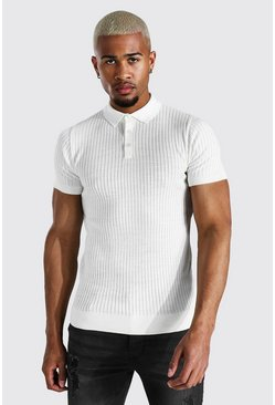 Short Sleeve Muscle Fit Ribbed Knit Polo, Ivory