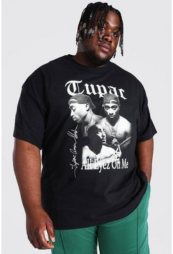 Black Plus Size Tupac Monochrome License T-shirt