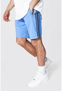 Pale blue Slim Fit Pintuck Tricot Shorts With Side Tape