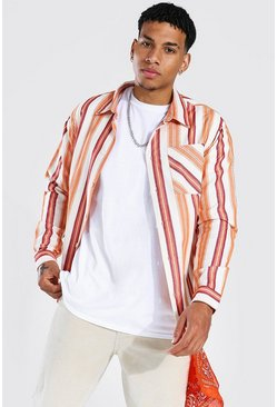 Orange Long Sleeve Striped Flannel Overshirt