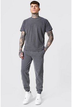 Charcoal Overdyed Man Signature T-shirt & Jogger Set