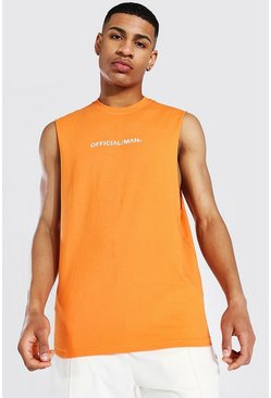 Orange Official Man Drop Armhole Tank