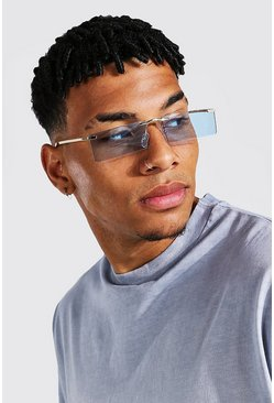 Blue Frameless Rectangle Sunglasses