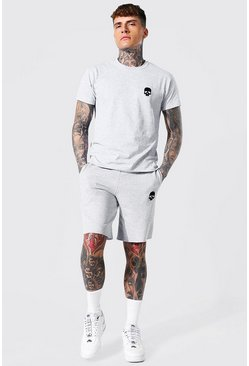 Grey marl Skull Embroidered T-shirt & Short Set