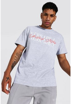 Grey marl Oversized Nebraska Graphic T-shirt