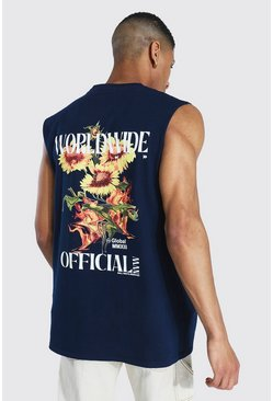 Navy Oversized Worldwide Floral Graphic Tank