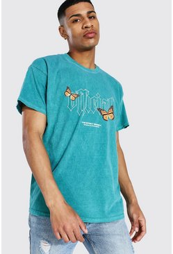 Green Oversized Official Butterfly Overdyed T-shirt