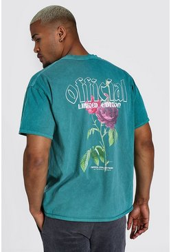 Green Oversized Official Floral Overdyed T-shirt
