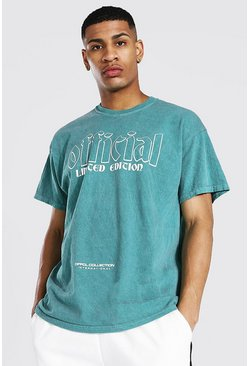 Green Oversized Official Graphic Overdyed T-shirt