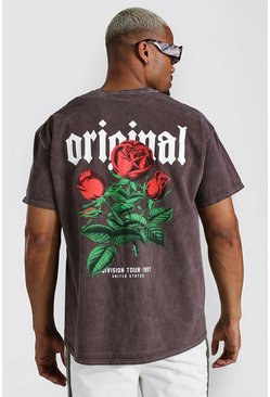 Chocolate Oversized Official Floral Overdyed T-shirt