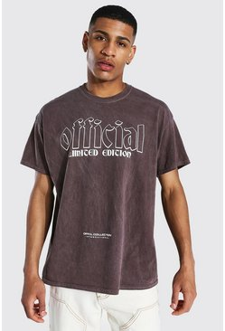 Chocolate Oversized Official Graphic Overdyed T-shirt
