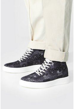 Black Bandana Branded Canvas High Tops