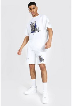 Ecru Oversized Man Graffiti Photo Tee & Short Set