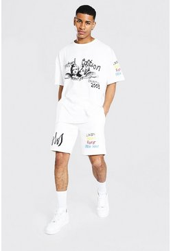 Ecru Oversized Skull Graffiti T-shirt & Short Set