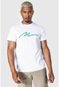 White Man Signature 3d Embroidery T-shirt