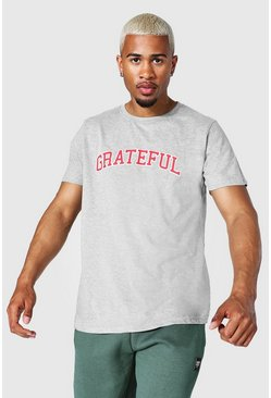 Grey marl Oversized Grateful T-shirt