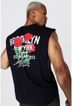 Black Oversized Brooklyn Floral Back Print Tank