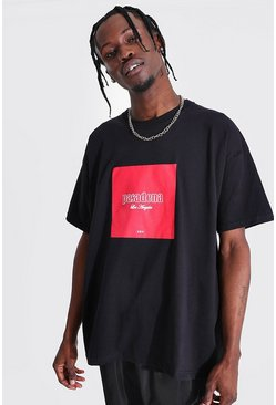 Black Oversized Pasadena Box Graphic T-shirt