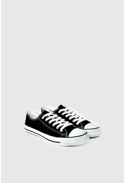Mens Black Canvas Plimsolls